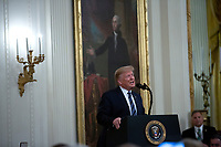 United States President Donald J. Trump presents the Presidential Citizens Medal posthumously to Richard Rescorla in the East Room of the White House in Washington D.C., U.S. on Thursday, November 7, 2019.  Rescorla helped save the lives of nearly 2,700 people at the World Trade Center in New York City on September 11, 2001.   <br />   <br /> CAP/MPI/CNP/SR<br /> ©SR/CNP/MPI/Capital Pictures