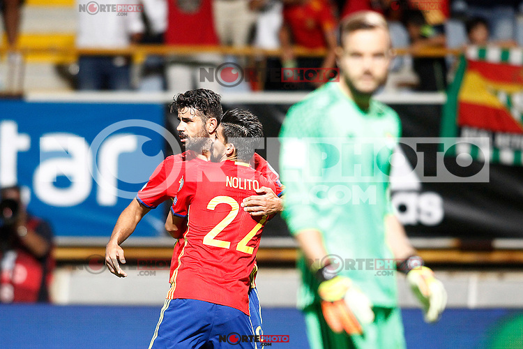 Spain's Diego Costa (l) and Nolito celebrate goal in presence of Liechtenstein's Peter Jehle dejected during FIFA World Cup 2018 Qualifying Round match. September 5,2016.(ALTERPHOTOS/Acero) /NORTEPHOTO