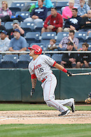 Dean Long (16) of the Spokane Indians bats during a game against the Everett AquaSox at Everett Memorial Stadium on July 24, 2015 in Everett, Washington. Everett defeated Spokane, 8-6. (Larry Goren/Four Seam Images)
