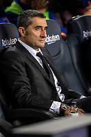 29th October 2019; Camp Nou, Barcelona, Catalonia, Spain; La Liga Football, Barcelona versus Real Valladolid; Ernesto Valverde FC Barcelona coach watches the players before the match against Valladolid