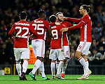 Juan Mata of Manchester United celebrates with Wayne Rooney after scoring his sides second goal during the UEFA Europa League match at Old Trafford, Manchester. Picture date: November 24th 2016. Pic Matt McNulty/Sportimage