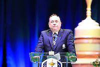 First Minister T.R. Hon Alex Salmond on stage to accept the handover of hosting the 2014 Ryder Cup at Gleneagles, at the Closing Ceremony after Sunday's Singles Matches of the 39th Ryder Cup at Medinah Country Club, Chicago, Illinois 30th September 2012 (Photo Colum Watts/www.golffile.ie)