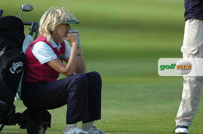 4th October, 2006 AA Insurance Ladies Championships All Ireland Finals held at Headfort Golf Club, Kells, County Meath..A pensive Pat McDermott (Ballinrobe Golf Club) during the Senior Foursomes - Semi-Final 2 event at the above. .Photo: BARRY CRONIN/Newsfile..(Photo credit should read BARRY CRONIN/NEWSFILE).