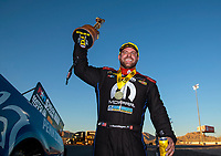 Nov 3, 2019; Las Vegas, NV, USA; NHRA funny car driver Matt Hagan celebrates after winning the Dodge Nationals at The Strip at Las Vegas Motor Speedway. Mandatory Credit: Mark J. Rebilas-USA TODAY Sports