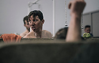 post-race (almost) ritual 'cleansing' for Sep Vanmarcke (BEL/Education First-Drapac) in the famous Roubaix showers<br /> <br /> 116th Paris-Roubaix (1.UWT)<br /> 1 Day Race. Compiègne - Roubaix (257km)