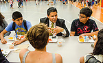 HISD Superintendent Richard Carranza has lunch with CVHS students.
