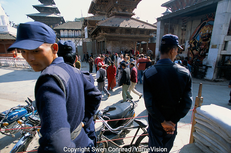 Durbar square under heavy surveillance in Kathmandu City, Nepal