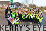Principal Aine Crowe and pupils from Kilmoyley national school who are taking part in An Taisce's Nig Travel Challenge Park and Stride.
