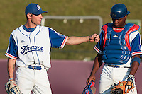 31 July 2010: Joris Bert of Team France is seen next to Jean Antonio Samer as he pitches against Greece during the Greece 14-5 win over France, at the 2010 European Championship, in Heidenheim, Germany.
