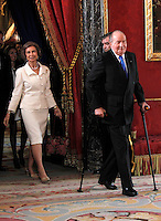 Spain's Queen Sofia and King Juan Carlos I during audiences. February 13, 2013. (ALTERPHOTOS/Alvaro Hernandez) /NortePhoto