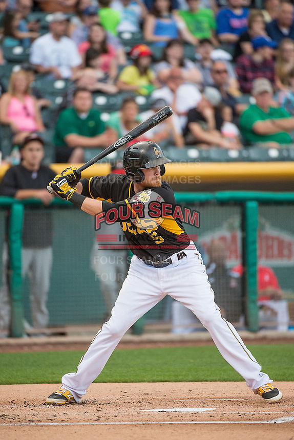 Ryan Jackson (5) of the Salt Lake Bees at bat against the Albuquerque Isotopes in Pacific Coast League action at Smith's Ballpark on June 8, 2015 in Salt Lake City, Utah.  The Isotopes defeated the Bees 8-7 in game two of a double-header.  (Stephen Smith/Four Seam Images)