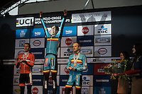 Wout Van Aert (BEL/Crelan-Vastgoedservice) is the new World Champion<br /> <br /> Men's Elite Race<br /> <br /> UCI 2016 cyclocross World Championships,<br /> Zolder, Belgium