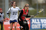 GER - Mainz, Germany, March 20: During the 1. Bundesliga Damen lacrosse match between Mainz Musketeers (white) and SC Frankfurt 1880 (red) on March 20, 2016 at Sportgelaende Dalheimer Weg in Mainz, Germany. Final score 7-12 (HT 3-5). (Photo by Dirk Markgraf / www.265-images.com) *** Local caption *** Magdalena Jones #20 of Mainz Musketeers, Laura Tueroff #36 of SC Frankfurt 1880