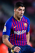 30th January 2019, Camp Nou, Barcelona, Spain; Copa del Rey football, quarter final, second leg, Barcelona versus Sevilla; Luis Suarez of FC Barcelona waits for the pass
