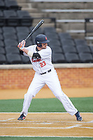 Rob Krentzman (23) of the Bucknell Bison at bat against the Georgetown Hoyas at Wake Forest Baseball Park on February 14, 2015 in Winston-Salem, North Carolina.  The Hoyas defeated the Bison 8-5.  (Brian Westerholt/Four Seam Images)