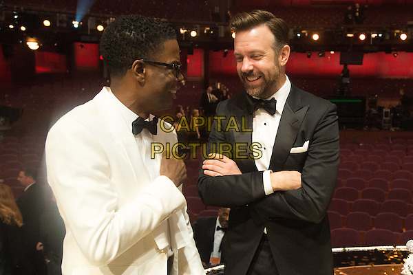 Host Chris Rock, Jason Sudeikis, and Olivia Wilde onstage after the live ABC Telecast of The 88th Oscars&reg; at the Dolby&reg; Theatre in Hollywood, CA on Sunday, February 28, 2016. <br /> *Editorial Use Only*<br /> CAP/PLF<br /> Supplied by Capital Pictures