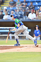 Lexington Legends Jackson Lueck (9) starts down the first base line during a game against the Asheville Tourists at McCormick Field on July 1, 2019 in Asheville, North Carolina. The Tourists defeated the Legends 9-8. (Tony Farlow/Four Seam Images)