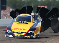 Aug. 18, 2013; Brainerd, MN, USA: NHRA funny car driver Del Worsham during the Lucas Oil Nationals at Brainerd International Raceway. Mandatory Credit: Mark J. Rebilas-
