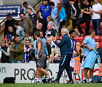 Sheffield Wednesday's manager Steve Bruce applauds the fans at the final whistle<br /> <br /> Photographer Chris Vaughan/CameraSport<br /> <br /> Football Pre-Season Friendly - Lincoln City v Sheffield Wednesday - Saturday July 13th 2019 - Sincil Bank - Lincoln<br /> <br /> World Copyright © 2019 CameraSport. All rights reserved. 43 Linden Ave. Countesthorpe. Leicester. England. LE8 5PG - Tel: +44 (0) 116 277 4147 - admin@camerasport.com - www.camerasport.com