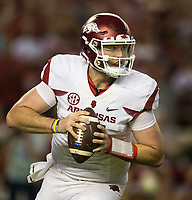 Hawgs Illustrated/BEN GOFF <br /> Cole Kelley, Arkansas quarterback, looks for a reciver in the first half against Alabama Saturday, Oct. 14, 2017, at Bryant-Denny Stadium in Tuscaloosa, Ala.