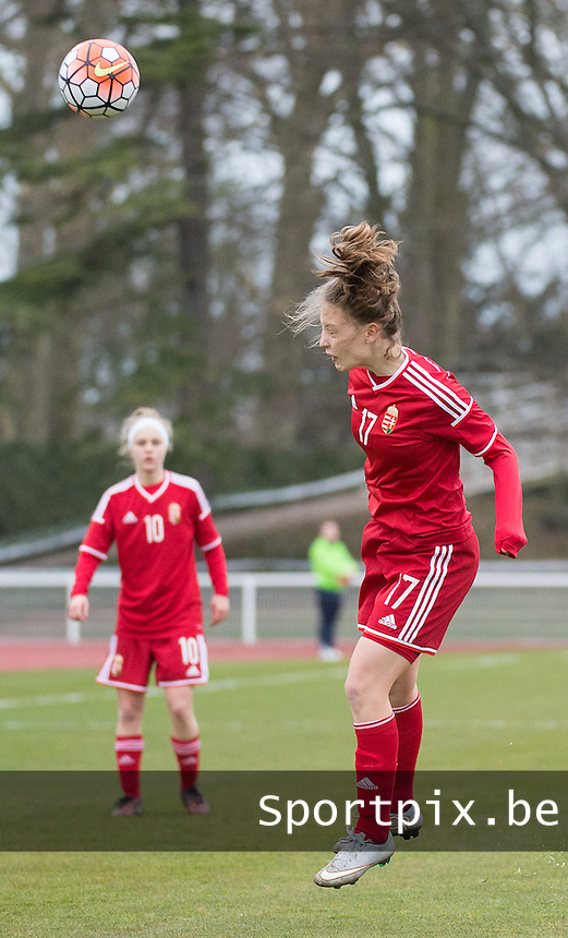20160319 - BAYEUX , FRANCE : Hungarian Brigitta Pulins pictured during the soccer match between the women under 17 teams of The Republic of Ireland and Hungary , on the first matchday in group 3 of the UEFA Women Under17 Elite rounds at Stade Henry Jeanne in Bayeux , France . Saturday 19th March 2016 . PHOTO DIRK VUYLSTEKE