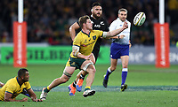 Michael Hooper of the Wallabies looks to gather in the ball during the Rugby Championship match between Australia and New Zealand at Optus Stadium in Perth, Australia on August 10, 2019 . Photo: Gary Day / Frozen In Motion