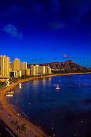 Waikiki Beach with Diamond Head crater on right, Honolulu, Oahu, Hawaii USA
