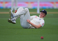 England's Zak Crawley after stumbling in the outfield during day five of the international cricket 2nd test match between NZ Black Caps and England at Seddon Park in Hamilton, New Zealand on Tuesday, 3 December 2019. Photo: Dave Lintott / lintottphoto.co.nz