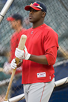 Los Angeles Angels' Gary Matthews Jr. (24) during batting practice at Comerica Park in Detroit, MI, Sunday, April 27, 2008.