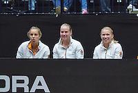 The Netherlands, Den Bosch, 16.04.2014. Fed Cup Netherlands-Japan, l.t.r.: Arantxa Rus, Richel Hogenkamp and Michaella Krajicek support Kiki Bertens<br /> Photo:Tennisimages/Henk Koster