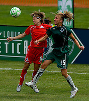Washington Freedom defender/midfielder Sonia Bompastor (8) and St. Louis Athletica midfielder Amanda Cinalli (15) during a WPS match at Anheuser-Busch Soccer Park, in Fenton, MO, June 20 2009. Washington  won the match 1-0.