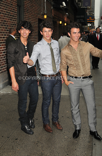 WWW.ACEPIXS.COM . . . . .  ....June 11 2009, New York City....Musicians The Jonas Brothers made an appearance at the 'Late Show with David Letterman' at the Ed Sullivan Theatre on June 11 2009 in New York City....Please byline: AJ Sokalner - ACEPIXS.COM..... *** ***..Ace Pictures, Inc:  ..tel: (212) 243 8787..e-mail: info@acepixs.com..web: http://www.acepixs.com