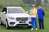 Alexander Bj&ouml;rk (SWE) poses with the trophy next to the Volvo XC90 car and Sven De Smet, Chairman Volvo China  Board after the final round of the Volvo China Open played at Topwin Golf and Country Club, Huairou, Beijing, China 26-29 April 2018.<br /> 29/04/2018.<br /> Picture: Golffile | Phil Inglis<br /> <br /> <br /> All photo usage must carry mandatory copyright credit (&copy; Golffile | Phil Inglis)