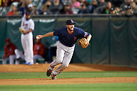 Pawtucket Red Sox first baseman Jantzen Witte (31) flips the ball to the pitcher covering first base during a game against the Buffalo Bisons on August 31, 2017 at Coca-Cola Field in Buffalo, New York.  Buffalo defeated Pawtucket 4-2.  (Mike Janes/Four Seam Images)