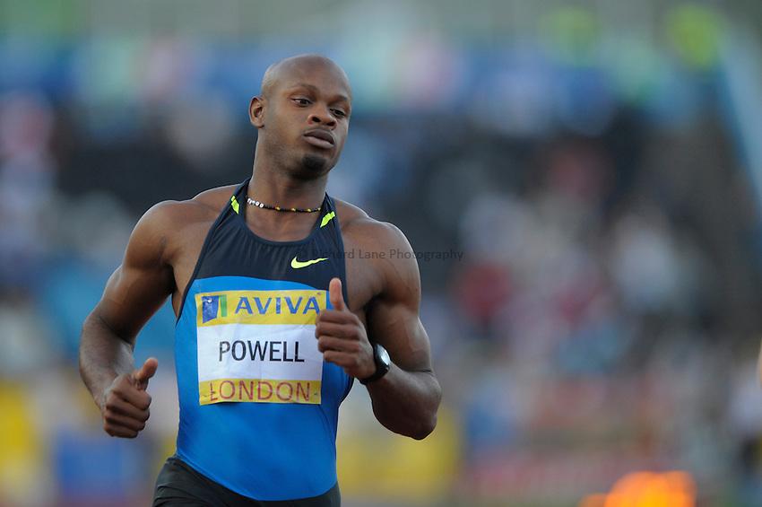 Photo: Ady Kerry/Richard Lane Photography. .Aviva London Grand Prix, Crystal Palace. 25/07/2008. .Jamaica's Asafa Powell after winning the men's 100m.