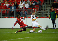 28 September 2010: Real Salt Lake defender Chris Wingert #17 and Toronto FC defender Nana Attakora #3 in action during a CONCACAF Champions League game between Real Salt Lake and Toronto FC at BMO Field in Toronto..Final score was 1-1...