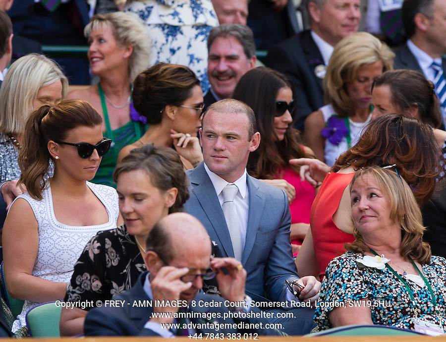 Wayne and Coleen Rooney<br /> <br /> Tennis - The Championships Wimbledon  - Grand Slam -  All England Lawn Tennis Club  2013 -  Wimbledon - London - United Kingdom - Sunday 7th July 2013. <br /> &copy; AMN Images, 8 Cedar Court, Somerset Road, London, SW19 5HU<br /> Tel - +44 7843383012<br /> mfrey@advantagemedianet.com<br /> www.amnimages.photoshelter.com<br /> www.advantagemedianet.com<br /> www.tennishead.net