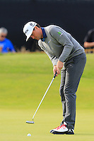 Keegan Bradley (USA) takes his putt on the 14th green during Thursday's Round 1 of the 145th Open Championship held at Royal Troon Golf Club, Troon, Ayreshire, Scotland. 14th July 2016.<br /> Picture: Eoin Clarke | Golffile<br /> <br /> <br /> All photos usage must carry mandatory copyright credit (&copy; Golffile | Eoin Clarke)