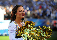 Sep. 20, 2009; San Diego, CA, USA; San Diego Chargers cheerleader performs against the Baltimore Ravens at Qualcomm Stadium in San Diego. Baltimore defeated San Diego 31-26. Mandatory Credit: Mark J. Rebilas-