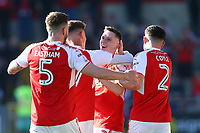 Fleetwood Town&rsquo;s Ashley Hunter celebrates scoring his sides goal with team mates <br /> <br /> Photographer Leila Coker/CameraSport<br /> <br /> The EFL Sky Bet League One - Fleetwood Town v Walsall - Saturday 5th May 2018 - Highbury Stadium - Fleetwood<br /> <br /> World Copyright &copy; 2018 CameraSport. All rights reserved. 43 Linden Ave. Countesthorpe. Leicester. England. LE8 5PG - Tel: +44 (0) 116 277 4147 - admin@camerasport.com - www.camerasport.com