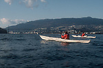 Vancouver, British Columbia, Canada, women Sea Kayakers, Burrard Inlet, Lions Gate bridge, West Vancouver in the background, 2000,.
