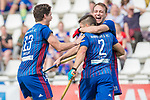 GER - Mannheim, Germany, April 15: During the field hockey 1. Bundesliga match between Mannheimer HC (blue) and Rot-Weiss Koeln (white) on April 15, 2018 at Am Neckarkanal in Mannheim, Germany. Final score 2-2. (Photo by Dirk Markgraf / www.265-images.com) *** Local caption *** (L-R) Paul Zmyslony #13 of Mannheimer HC, Gonzalo Peillat #2 of Mannheimer HC, Felix Schues #19 of Mannheimer HC