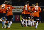 Picture by David Horn/eXtreme Aperture Photography +44 7545 970036<br /> 26/11/2013<br /> Steve McNulty of Luton Town (2nd right) is mobbed by team mates after scoring his team's first goal during the Skrill Premier match at Kenilworth Road, Luton.