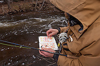 A fly fisherman chooses and egg pattern while fishing for steelhead and salmon on the Carp River a Lake Superior tributary near Marquette Michigan in spring.