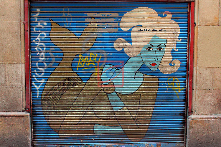 Street Art-Graffittis.<br /> Carrer de la Merce.<br /> Barcelona - Barri Gotic (Ciutat Vella).
