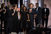 Accepting the Golden Globe for BEST MOTION PICTURE &ndash; COMEDY OR MUSICAL for &quot;Green Book&quot; is Peter Farrelly with the cast and crew at the 76th Annual Golden Globe Awards at the Beverly Hilton in Beverly Hills, CA on Sunday, January 6, 2019.<br /> *Editorial Use Only*<br /> CAP/PLF/HFPA<br /> Image supplied by Capital Pictures
