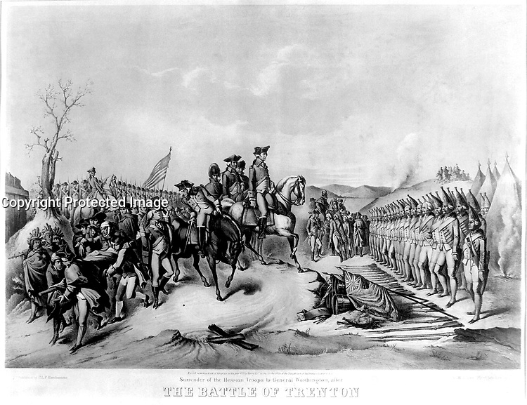Surrender of the Hessian Troops to General Washington, after The Battle of Trenton. December 1776.  Copy of lithograph, 1850. (George Washington Bicentennial Commission)<br />Exact Date Shot Unknown<br />NARA FILE #:  148-GW-332<br />WAR &amp; CONFLICT #:  31
