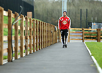 Monday 25 November 2014<br /> Pictured: Wayne Routledge walking on the path towards the gym<br /> Re: Swansea City FC training at the club's Fairwood Training Ground in the outskirts of Swansea, south Wales, UK.