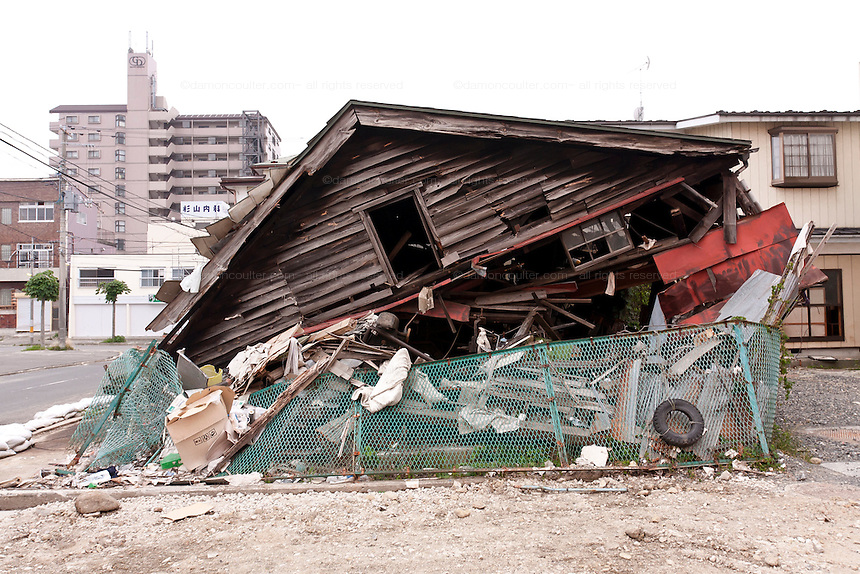 A wooden house damaged by  the tsunami that followed the magnitude 9 earthquake that struck The Tohoku region on March 11th 2011. Shiogama, Sendai, Japan, Saturday July 2nd 2011.