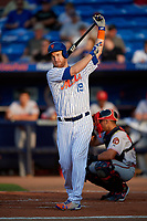 St. Lucie Mets Todd Frazier (19) at bat during a Florida State League game against the Florida Fire Frogs on April 12, 2019 at First Data Field in St. Lucie, Florida.  Florida defeated St. Lucie 10-7.  (Mike Janes/Four Seam Images)